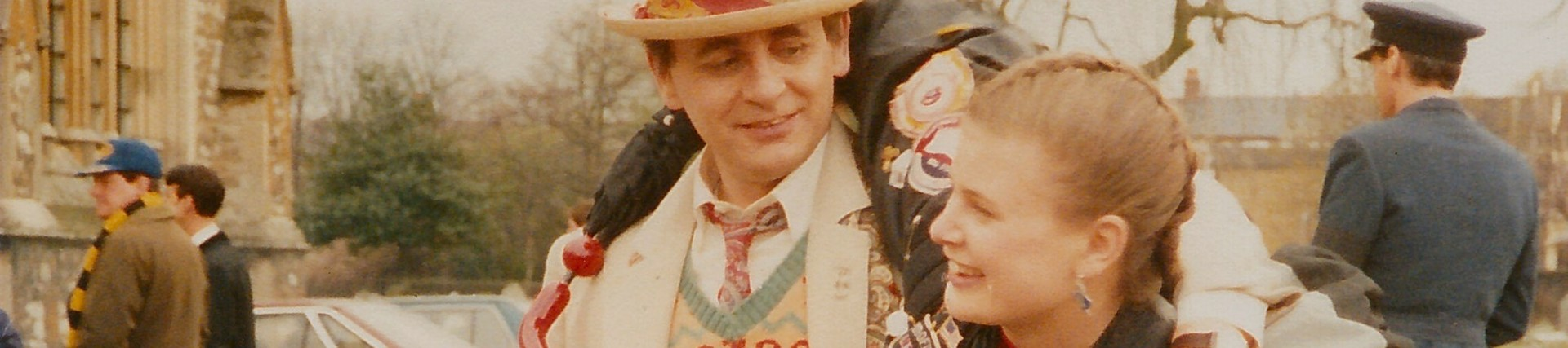 Image of Sylvester McCoy and Sophie Aldred on location for Remembrance of the Daleks